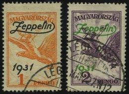 UNGARN 478/9 O, 1931, Graf Zeppelin, üblich Gezähnt, 2 Prachtwerte, Mi. 180.- - Hongrie