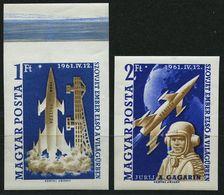 UNGARN 1753/4B **, 1961, Weltraumflug, Ungezähnt, Prachtsatz, Mi. 80.- - Hongrie