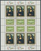 UNGARN 2940A KB O, 1974, 4 Ft. Mona Lisa Im Kleinbogen, Ersttags-Sonderstempel, Pracht, Mi. 90.- - Hongrie