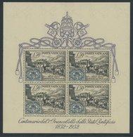 """1952, Block Briefmarken, Postfrisch, Pracht, Mi. 250.- -> Automatically Generated Translation: 1952, Souvenir Sheet """"sta - Vatikan"""
