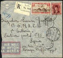 ÄGYPTEN 176,227 BRIEF, 1939, 40 M. Rot/braun Und 5 M. König Frank Auf Einschreibbrief Aus Ägypten An Eine Französische M - Ägypten