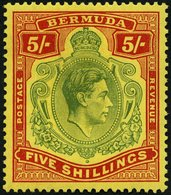 BERMUDA-INSELN 113a *, 1938, 5 Sh. Rot/grün Auf Gelb (SG 118), Falzrest, Pracht, SG œ 140.- - Bermuda
