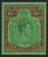 BERMUDA-INSELN 114a *, 1938, 10 Sh. Dunkelbraunrot/grün Auf Grün, Gezähnt 14, (SG 119), Pracht - Bermuda