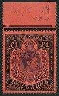 BERMUDA-INSELN 116a **, 1938, 1 £ Schwarz/purpur Auf Rot, Gezähnt 14 (SG 121), Postfrisch, Pracht - Bermuda