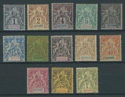 FRANZÖSISCH-GUYANA 29-41 *, 1892, Kolonialallegorie, Falzreste, Pracht/feinst, Mi. 230.- - Französisch-Guayana (1886-1949)