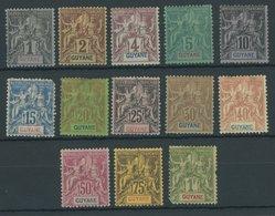 FRANZÖSISCH-GUYANA 29-41 *, 1892, Kolonialallegorie, Falzreste, Satz In Unterschiedlicher Erhaltung, Mi. 230.- - Französisch-Guayana (1886-1949)