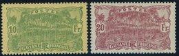 FRANZÖSISCH-GUYANA 92/3 **, 1924, 10 Fr. Grün Auf Gelb Und 20 Fr. Lilakarmin, Postfrisch, 2 Prachtwerte - Französisch-Guayana (1886-1949)