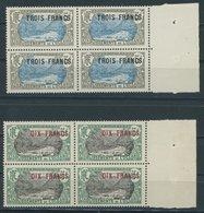 FRANZÖSISCH-OZEANIEN 82/3 VB **, 1924, 3 Fr. Auf 5 Fr. Grau/blau Und 10 Fr. Auf 5 Fr. Grün/grau, Je Im Randviererblock,  - Ozeanien (1892-1958)