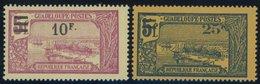 GUADELOUPE 94/5 **, 1924, 10 Fr. Auf 5 Fr. Lilarot Auf Gelb Und 20 Fr. Auf 5 Fr. Lilarosa Auf Rosa, Postfrisch, 2 Pracht - Guadeloupe (1884-1947)