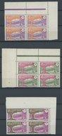 KAMERUN 94/5,111 VB **, 1926/7, 10, 20 Und 3 Fr. Landesmotive, Je Im Eckrandviererblock, Postfrisch, Pracht - Kamerun (1960-...)