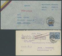 1931/38, L1 SERVICIO MANCOMUN Und R3 PAR AVION CORREO AEREO MANCOMUN, Je Auf Flugpostbrief Nach Deutschland, Feinst -> A - Kolumbien
