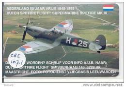 NEDERLAND (CRE-107.1) SPITFIRE AIRPLANE AVION Inutilisé Pays-Bas Telecarte  Phonecard Telefonkarte Niederlande - Holland - Pays-Bas