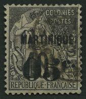 MARTINIQUE 8 O, 1891, 05 C. Auf 10 C. Schwarz Auf Lila, Pracht, Signiert Köhler, Mi. 70.- - Martinique (1886-1947)