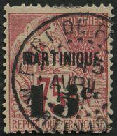 MARTINIQUE 17 O, 1888, 15 C. Auf 75 C. Karmin, Feinst/kleiner Zahnfehler, Signiert Köhler, Mi. 150.- - Martinique (1886-1947)