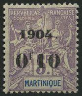MARTINIQUE 55 *, 1904, 0f10 Auf 5 Fr. Lila/blau, Falzreste, Pracht, Mi. 200.- - Martinique (1886-1947)