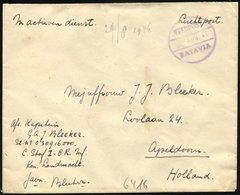NIEDERLÄNDISCH-INDIEN 1946, Violetter K1 VELDPOST/Datum/BATAVIA Und Handschriftlicher Vermerk In Active Dienst Auf Luft- - Indes Néerlandaises