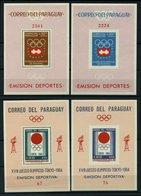 PARAGUAY Bl. 48-51 **, 1963/4, Blockpaare Olympische Spiele, Gezähnt Und Ungezähnt, 4 Blocks Pracht, Mi. 112.- - Paraguay