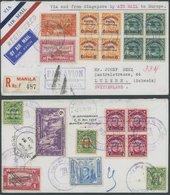 PHILIPPINEN U.a. 377/8,82-84 BRIEF, 1937, Luftpost-Einschreibbrief Von MANILA Nach Luzern, Bunte Frankatur Vorder- Und R - Philippinen