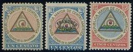 SALVADOR *, 1897, 3 Verschiedene Gedenkmarken Der REPUBLIKA MAYOR DE CENTRO AMERICA ESTADO DE EL SALVADOR, Falzrest, Pra - El Salvador