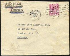 SINGAPUR 9 BRIEF, 1954, 10 C. König Georg VI Mit K1 FORCES P.O./Datum/SINGAPORE Auf Feldpostbrief Aus Dem Großen Hauptqu - Singapur (1959-...)