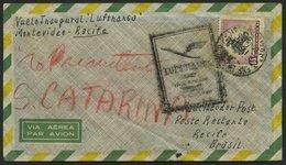 URUGUAY 785 BRIEF, 16.4.1957, LH-Flug Montevideo-Recife, Prachtbrief, R! - Uruguay