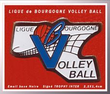 SUPER PIN'S VOLLEYBALL-BOURGOGNE : Officiel LIGUE De BOURGOGNE De VOLLEYBALL, émail Base Noire, TROPHY INT. 2,2X1,4cm - Voleibol