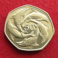 Gibraltar 50 Pence 1990 Dolphins - Gibilterra
