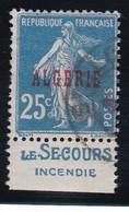 PUBLICITE  ALGERIE SEMEUSE 25C BLEU SURCHARGE ACCP17 LE SECOURS-incendie OBLITERE   COTE ACCP 20E - Advertising
