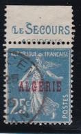 PUBLICITE  ALGERIE SEMEUSE 25C BLEU SURCHARGE ACCP14 LE SECOURS-accidents OBLITERE   COTE ACCP 20E - Publicités