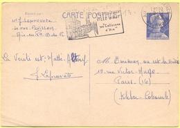 FRANCIA - France - 1959 - 20F Marianne De Muller + Flamme Ville D'Eaux - Carte Postale - Intero Postale - Entier Postal - Biglietto Postale