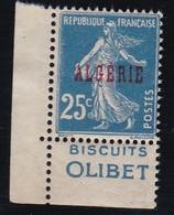 PUBLICITE  ALGERIE SEMEUSE 25C BLEU SURCHARGE ACCP13 OLIBET OBLITERE   COTE ACCP 25E - Publicités
