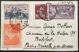 LETTRE FRANCE Merson Semeuse Etiquette Gyunemer Poste Aerienne + Foire De Paris Pour Bruxelles Par Avion  ! - Poste Aérienne