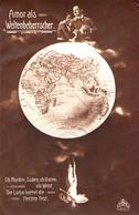 PHOTOMONTAGE : SURRÉALISME / SURREALISM - COUPLE Sur GLOBE TERRESTRE : AMOR ALS WELTENBEHERRSCHER ~ 1905 (aa552 - Fantaisies
