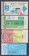 1350(7) POLAND.POLONIA. POLOGNE. POLEN.- 4 Bus Tickets: Tarnobrzeg, Białystok, Warszawa (Warsaw).. - Bus