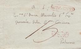 Z157 - Involucro Senza Testo Del 1844 Da Girgenti A Palermo , Tassata 15 Grana In Arrivo. - Italia