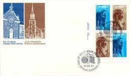 1981  Indian Saint Kateri Tekakwitha, Marie De L'Incarnation Sc 885-6 Incription Block Of 4 - Premiers Jours (FDC)