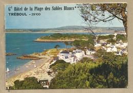 CPSM Double Grand Hotel De La Plage Des Sables Blancs - 29 - Tréboul - Carte Ecrite Dépliante Publicitaire Avec Carte G - Restaurants