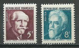 France YT N°820/821 Transfert Au Panthéon Paul Langevin - Jean Perrin Neuf ** - Neufs