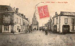 Gipey  03   La Place De L'Eglise  Et La Rue Tres Tres Animée-Café Et Epicerie - France