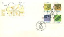 1988  Calgary Winter Olympics   Skiing, Curling, Skating, Luge  Sc 1195-98 - Omslagen Van De Eerste Dagen (FDC)