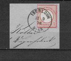 """LOTE 1830   ///   (C020)  ALEMANIA IMPERIO  1872   YVERT Nº: 16  CON FECHADOR DE """"ISERLONW"""" - Gebraucht"""