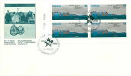 1984  St Lawrence Seaway  Map     Sc 1015   Plate Block  Of 4 - Omslagen Van De Eerste Dagen (FDC)