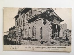 Ak Nieuwpoort Nieuport Belgie Belgique Treinstation La Gare Resiste Bombardement Trein Station Train Gare - Guerre 1914-18