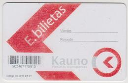 1350(12) KAUNAS Lithuania / Lituanie / Lituania. Rechargeable Card. Carte Rechargeable. Tarjeta Recargable (2012). - Bus