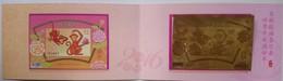 Folder Gold Foil 2015 Chinese New Year Zodiac Stamp S/s-Monkey Peach Fruit Peony Flower (Taipei) Unusual 2016 - Chinese New Year
