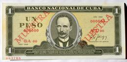 Billete MUESTRA (SPECIMEN) 1988 Cuba, Un Peso, Gem-UNC. Impecable Condicion - Cuba