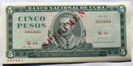 SPECIMEN Cuba, 1970, Billete De CINCO PESOS, Gem-UNC. Primera Decada De La Revolución. - Cuba