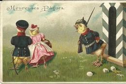 PAQUES  -- Poussins Déguisés En Militaires    -- Carte Gaufrée - Oiseaux