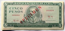 SPECIMEN Cuba, 1972, Billete De CINCO PESOS, Gem-UNC. Primera Decada De La Revolución. - Cuba
