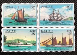 PALAU 1984 51-54 4er 54a UPU Congress Hamburg Explorer Sailing Ships Schiffe MNH Error Ovpt Shifted Up - Palau